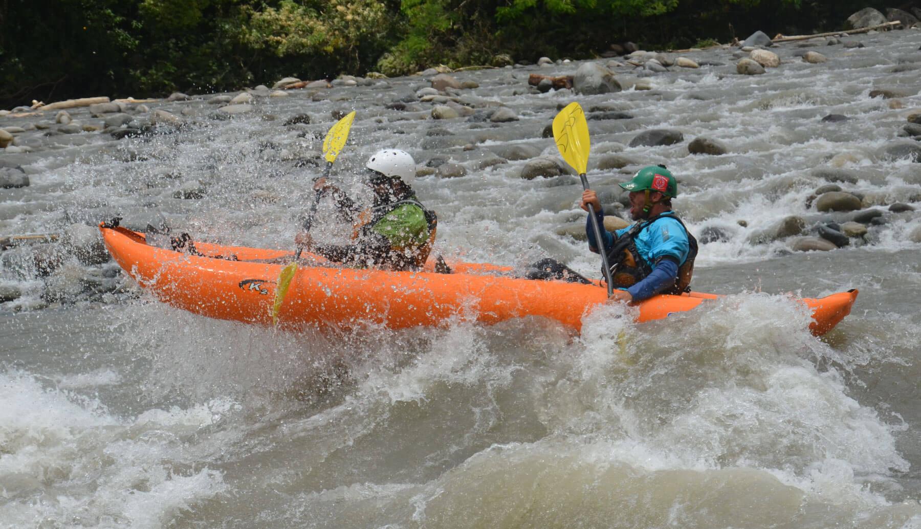Inflatable kayak descending Jatunyacu river