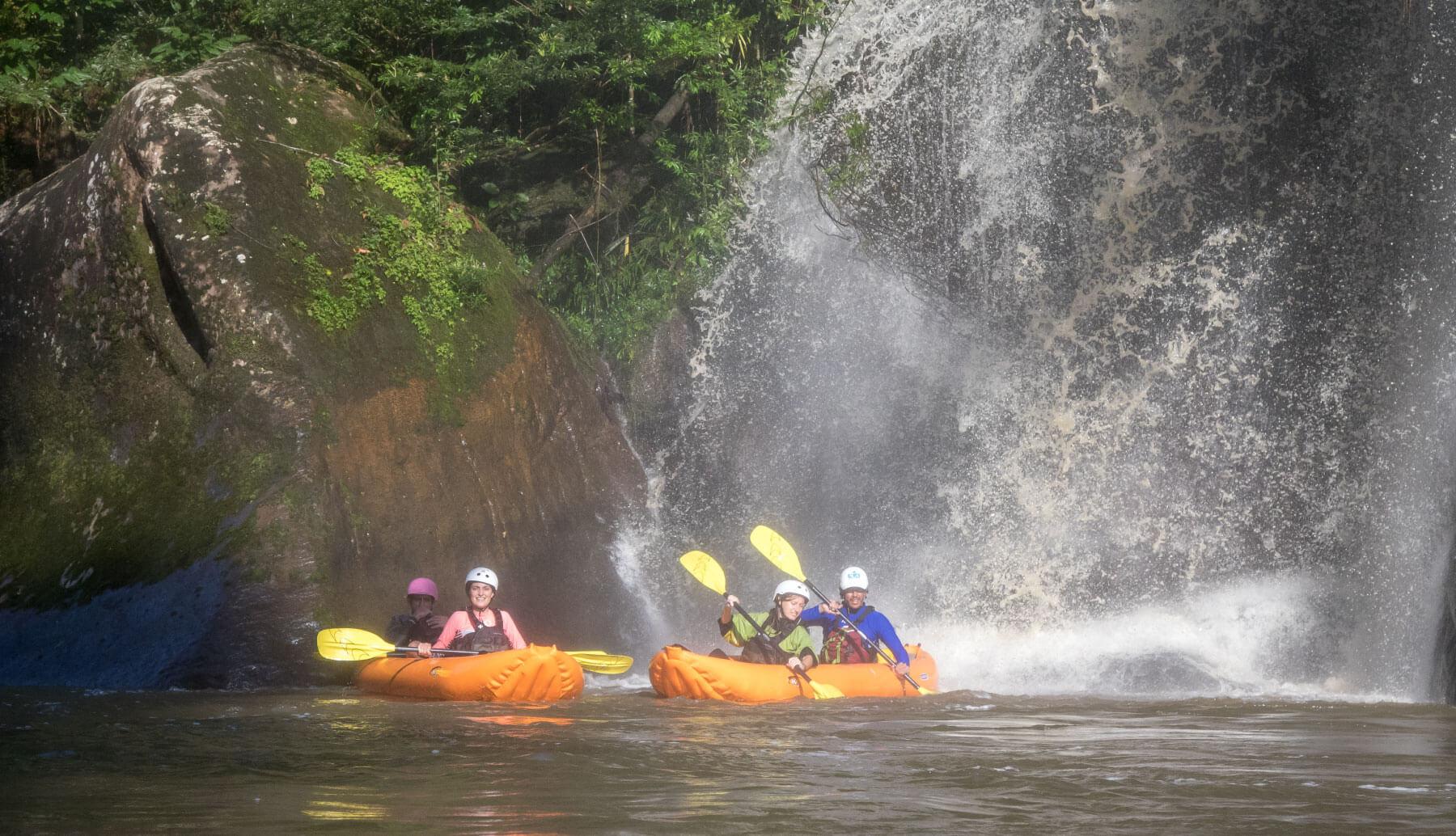 Duckie boat in Jondachi, below a big waterfall