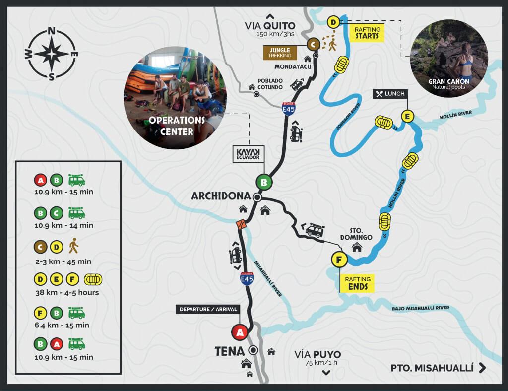 Rafting Jondachi travel map