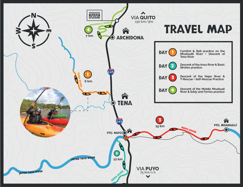 Kayak School travel map