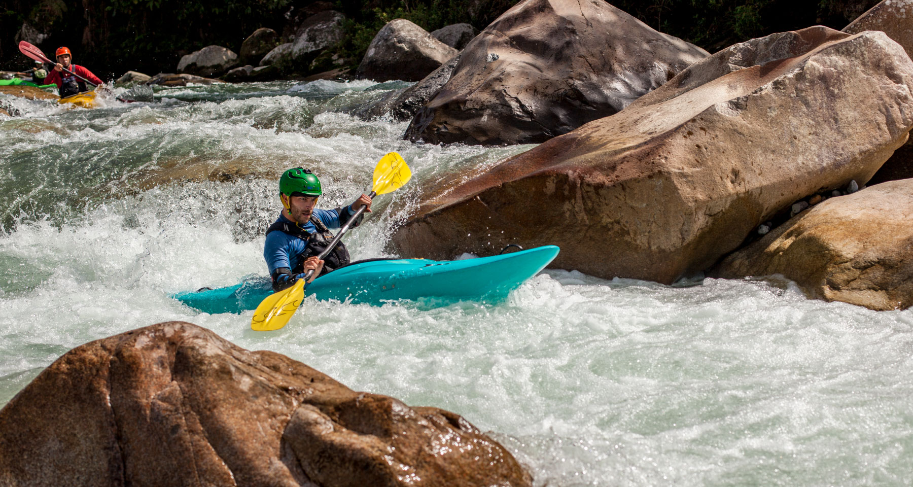 Kayak guide in a river in a Kayak Day