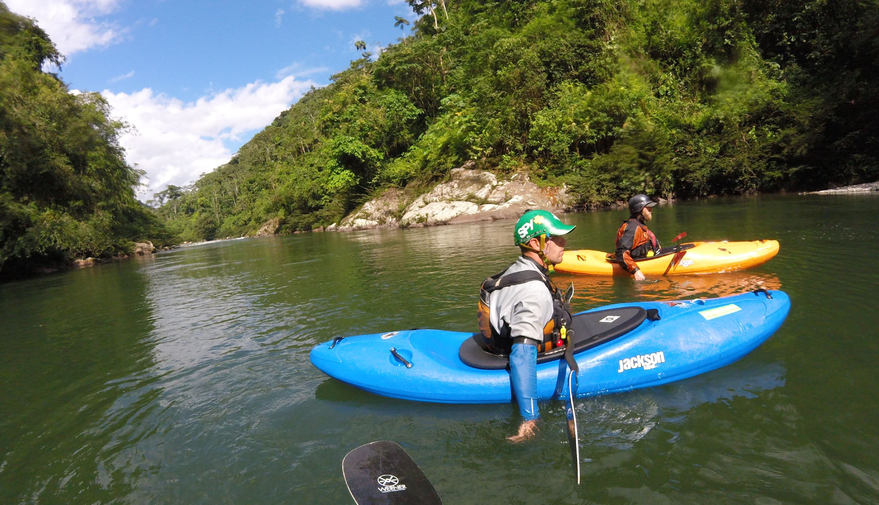 Sunny day in the rivers, with two kayakers