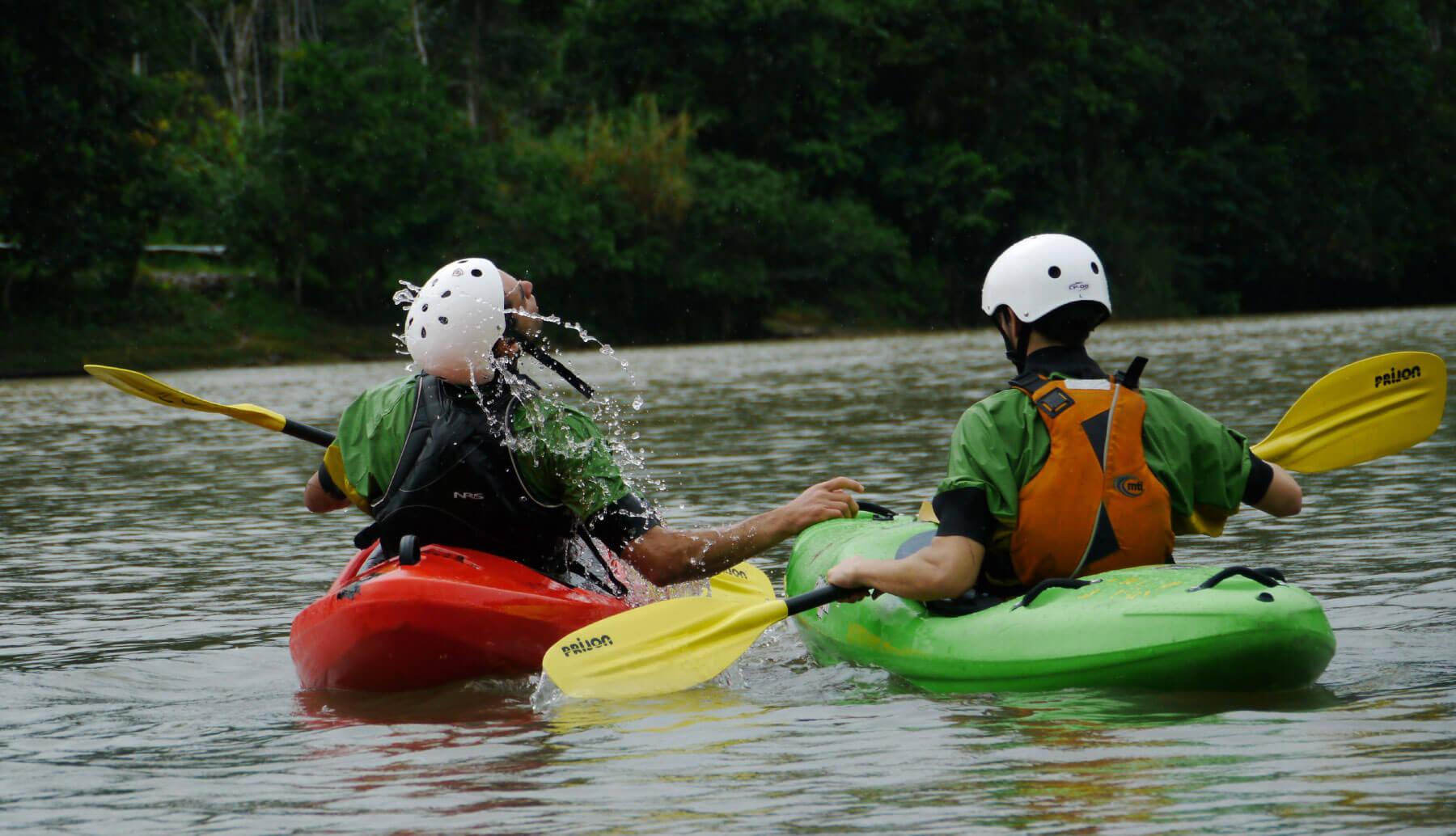 Kayak school class in Napo river
