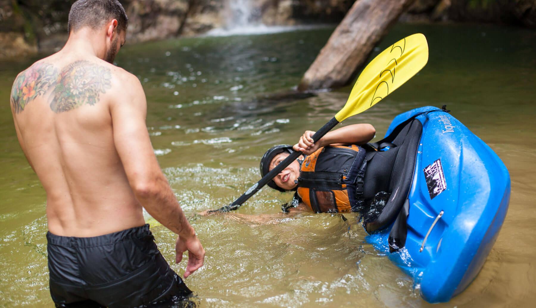 Kayak school lesson with Santiago Canala in Ecuador