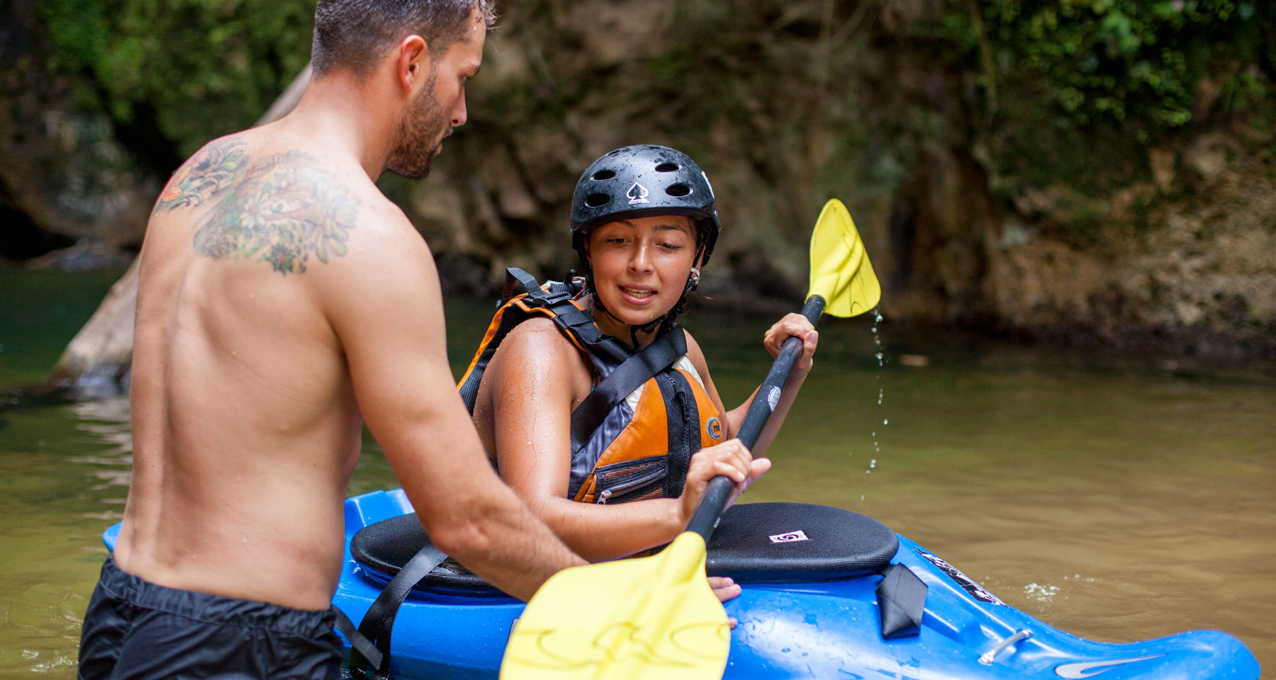 Student of Kayak School with Santiago Canala, instructor