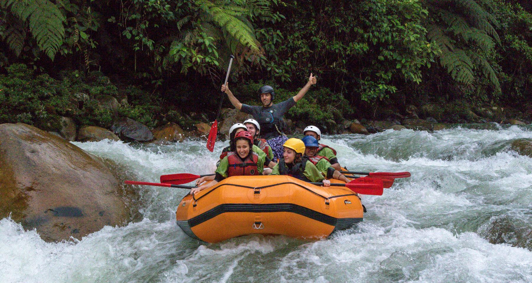 Descending rivers in raft boat in Ecuador