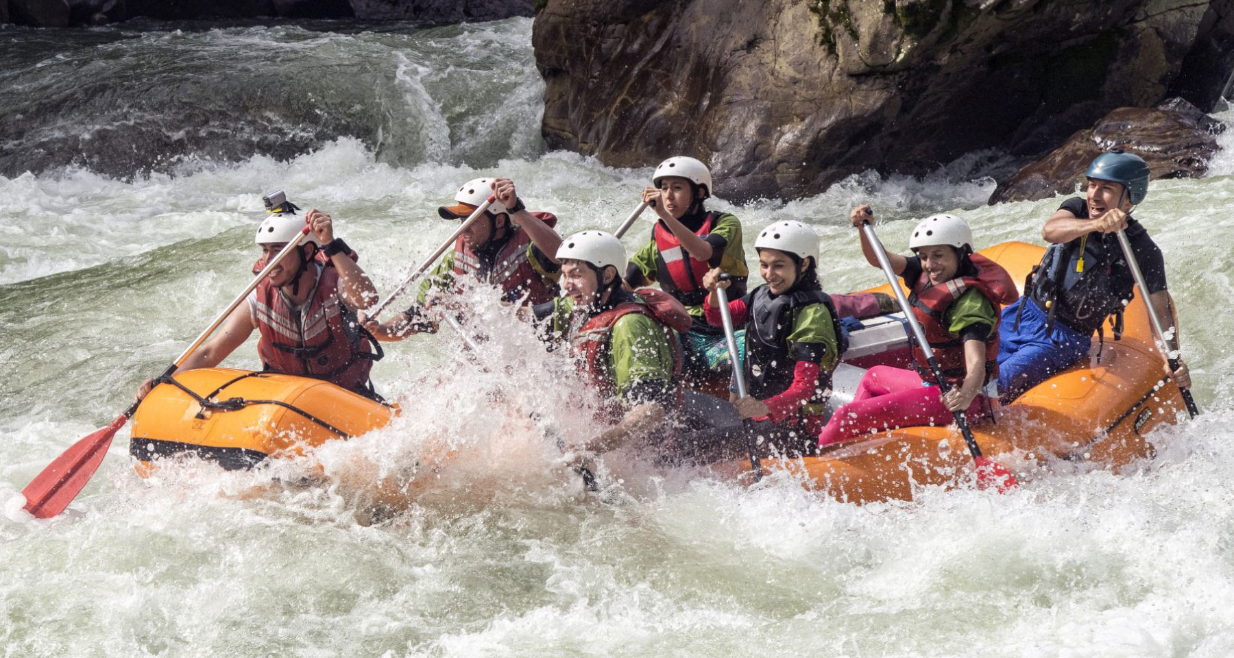 Rafting in Jondachi river in the middle of the jungle in Southamerica