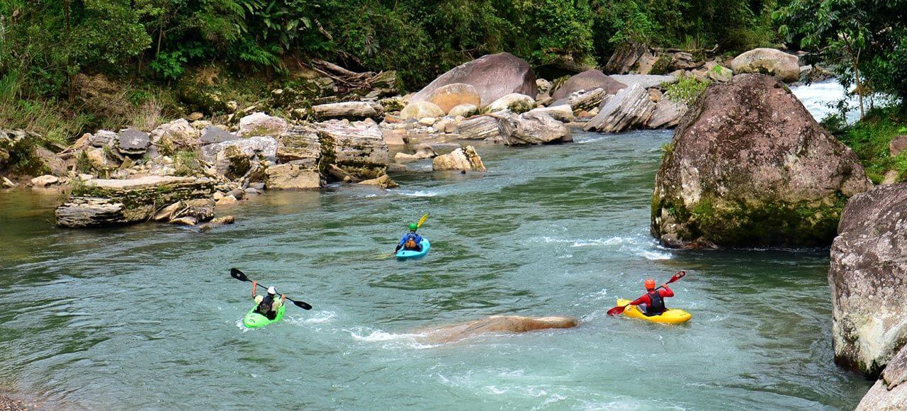 Kayak students in a river in Tena, Napo in Ecuador.