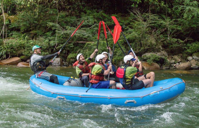 People with paddles rafting in Napo, Tena. Ecuador