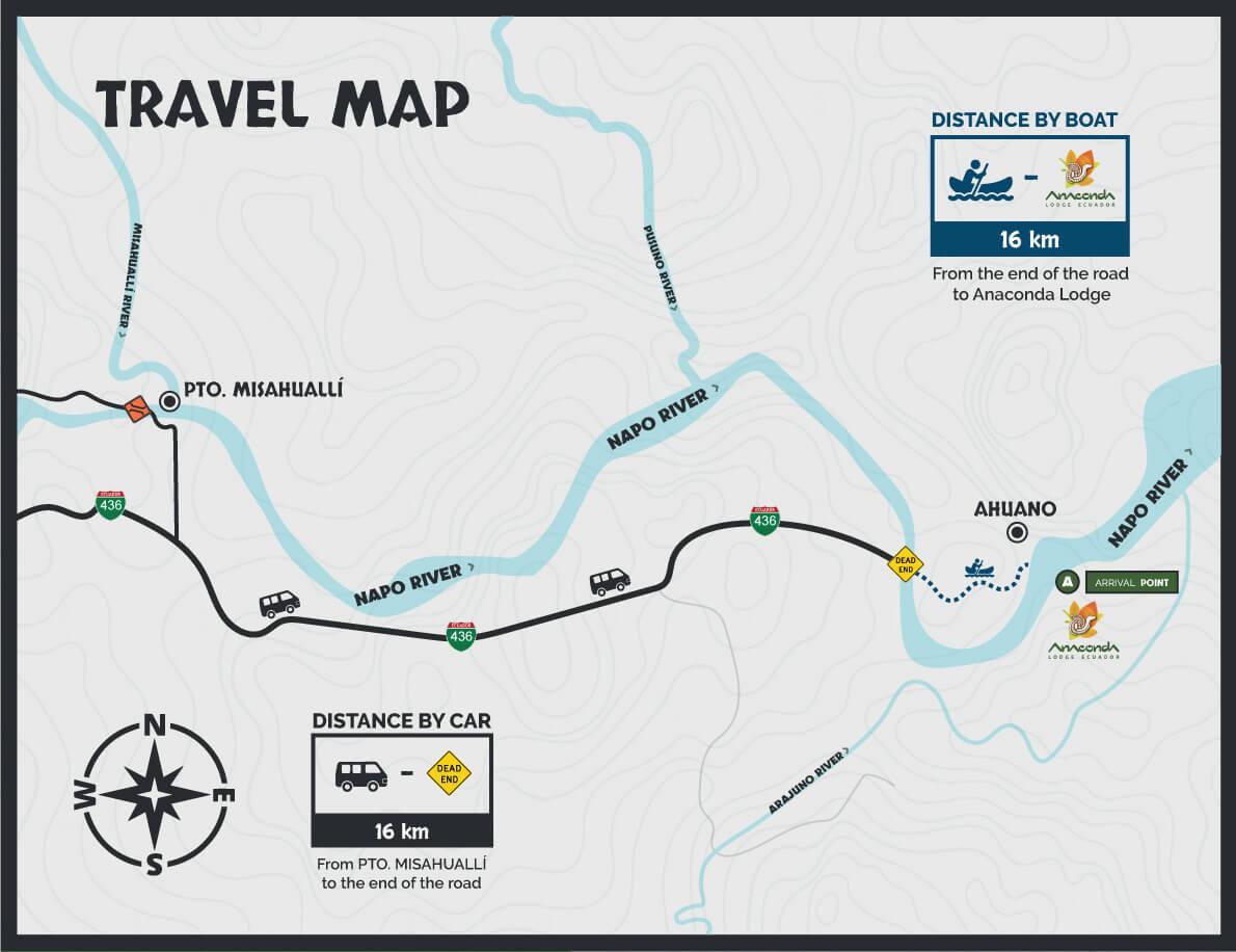 Anaconda Lodge tour travel map