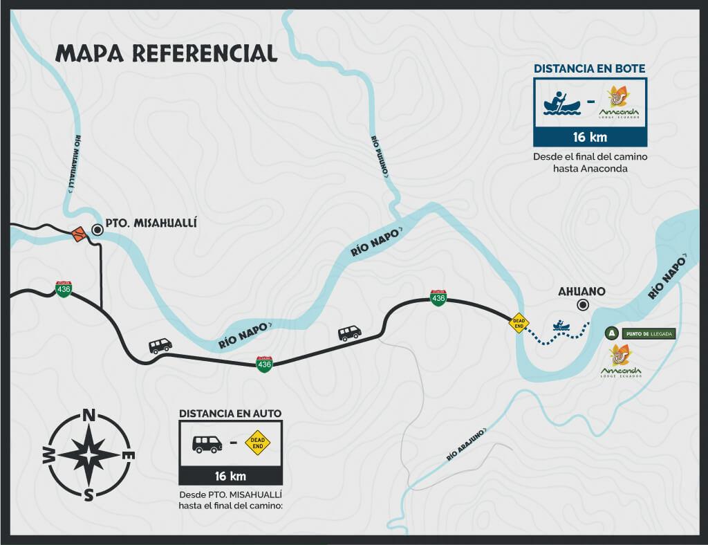 Mapa Anaconda Lodge + Rafting   3d 2n   KAYAK ECUADOR