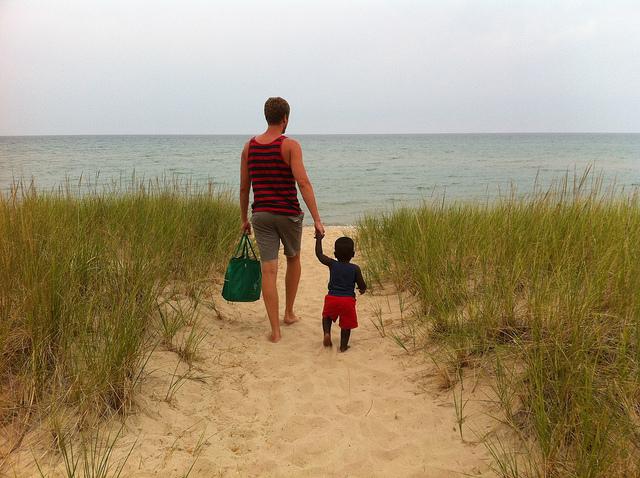 boy - dad - beach - summer