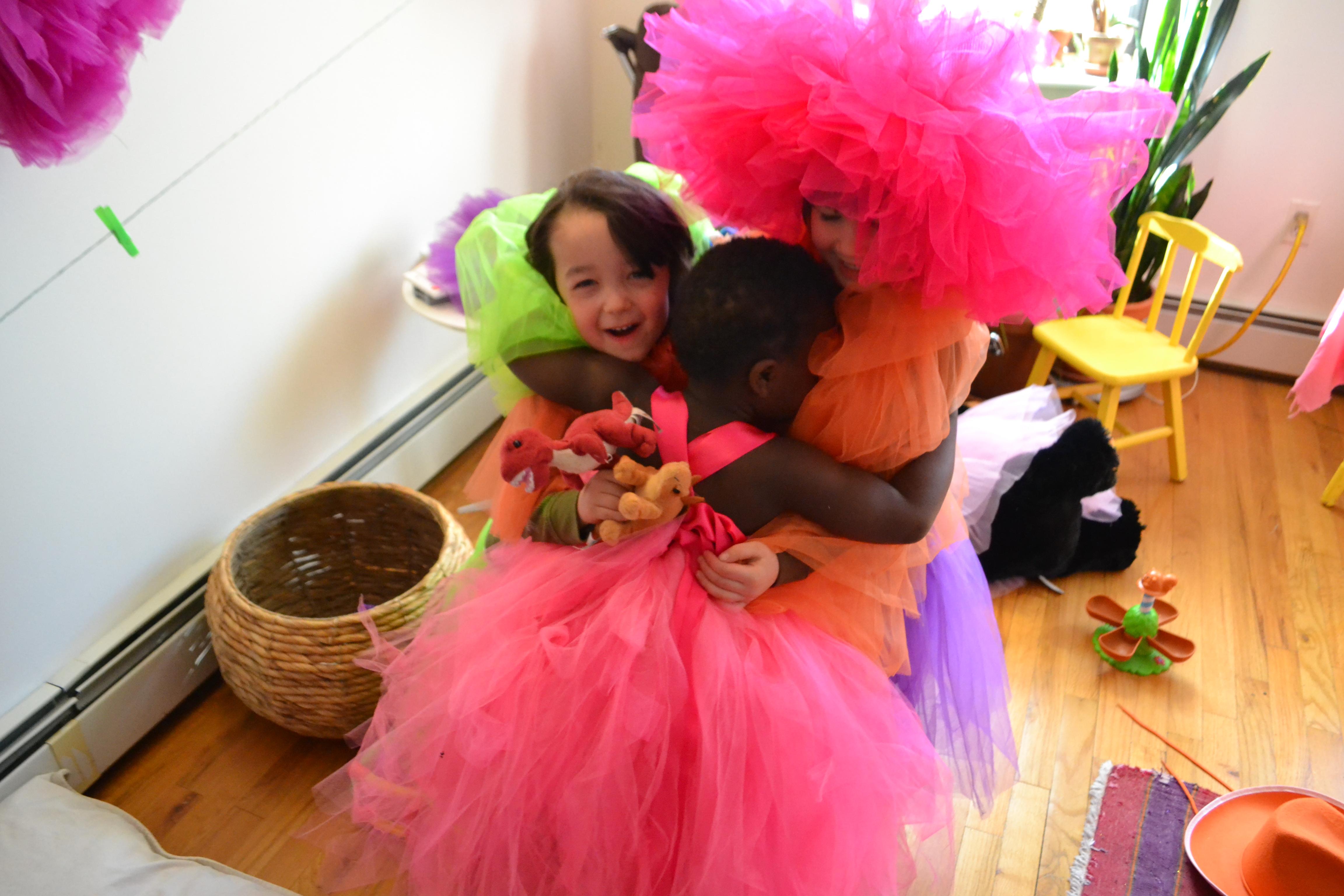 pretty dress hugs flower tule