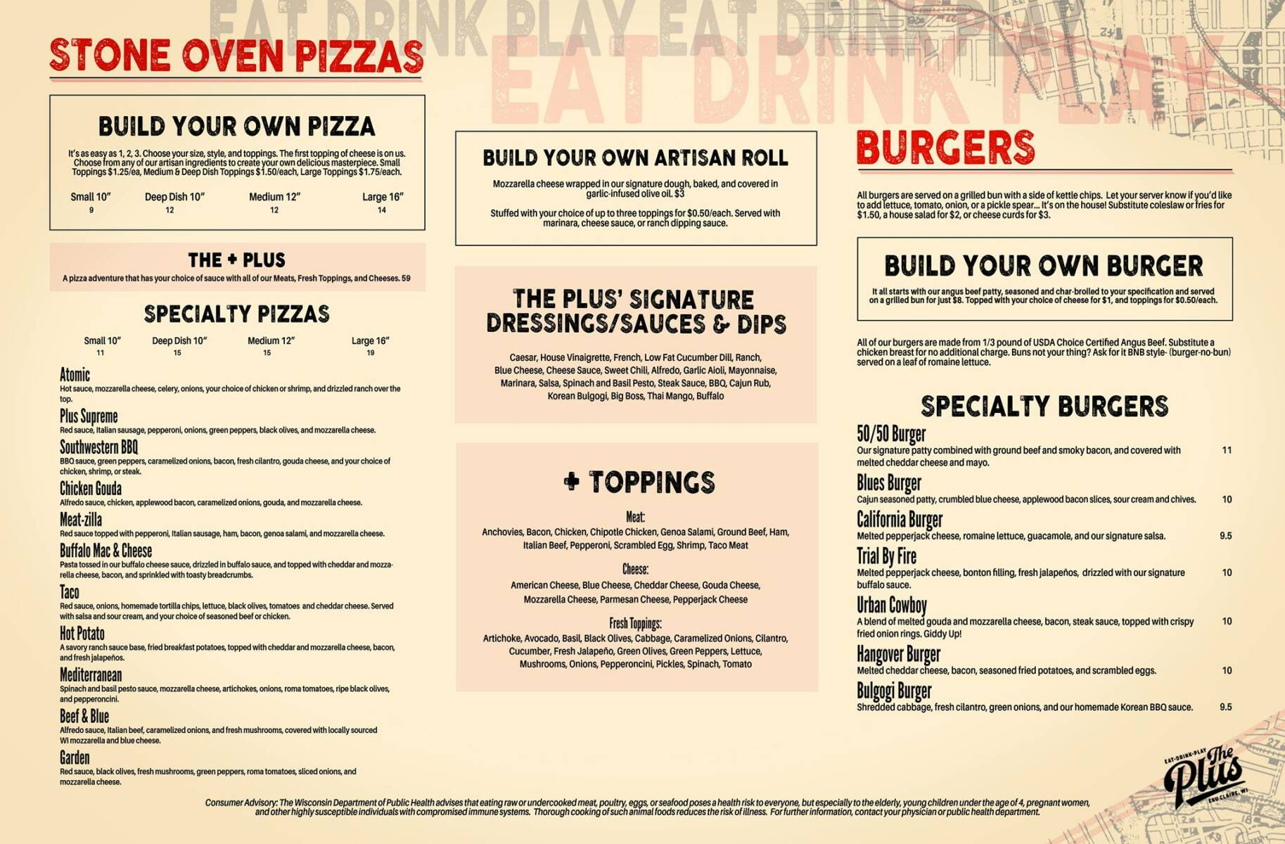 The Plus Eau Claire - Menu Page 2