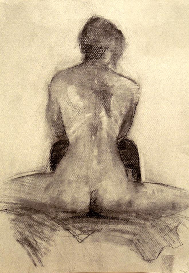 Forward Lean Charcoal Drawing