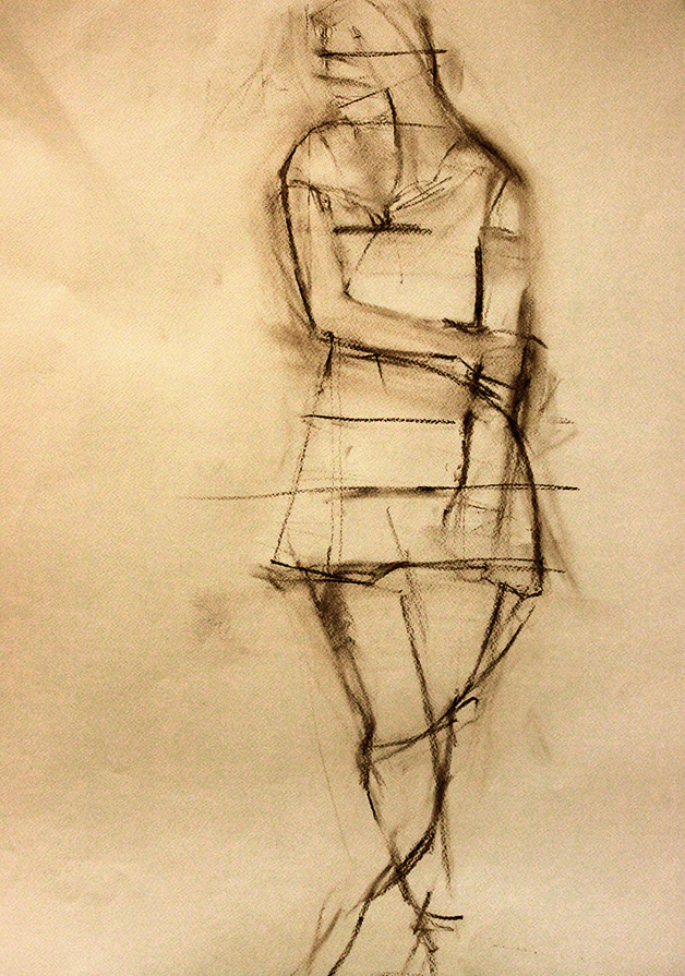 Line Dance Charcoal on Paper