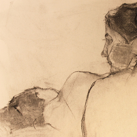 Two Women Charcoal on Paper