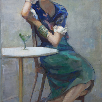 Woman Martini Oil Painting