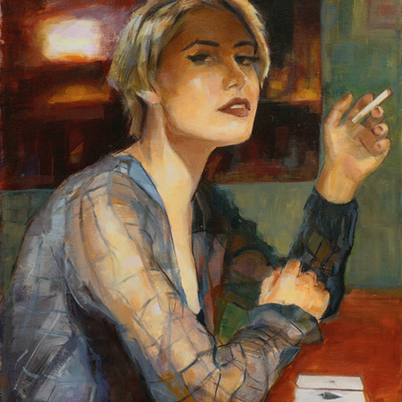 Woman Smoking Oil Painting