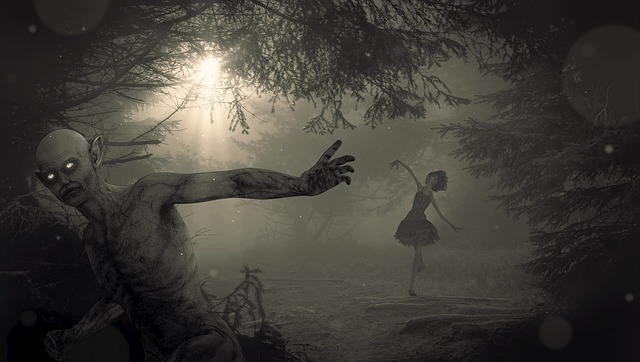 ballerina in spooky forest with zombie