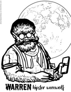 A hipster werewolf with a smartphone in front of a full moon available for free download as a coloring page from Horrorfam