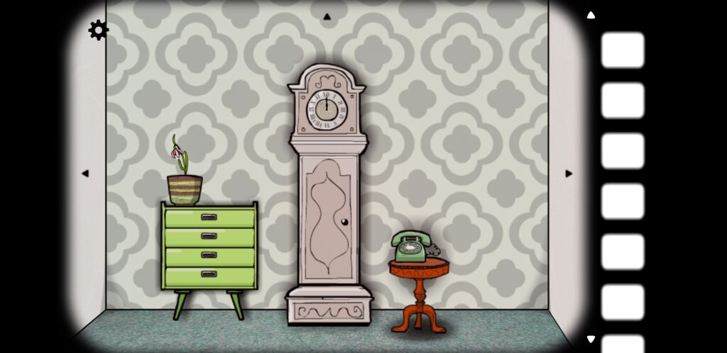 screenshot from Cube Escape: Seasons showing a wall with a clock, a dresser, and a telephone