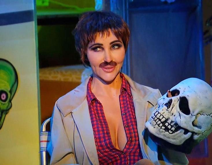 Diana Price dressed as Tom Atkins in Halloween III