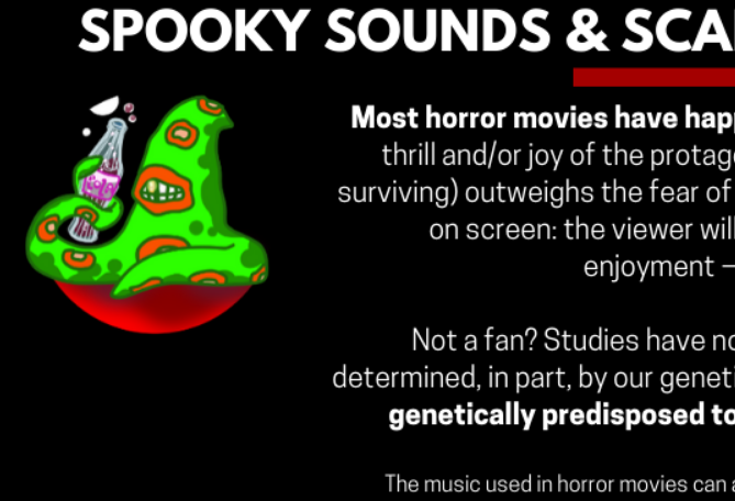 Snippet of an infographic about whether horror movies are good or bad for you. A tentacle man is depicted.
