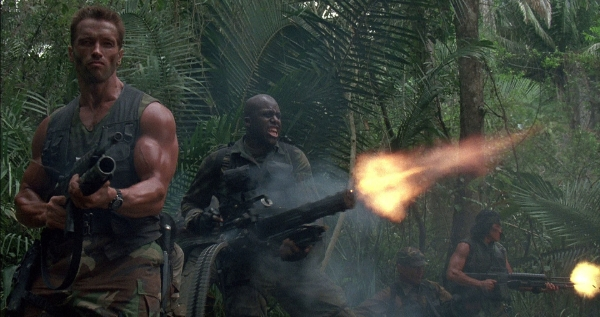 Humans in a tropical jungle in Predator
