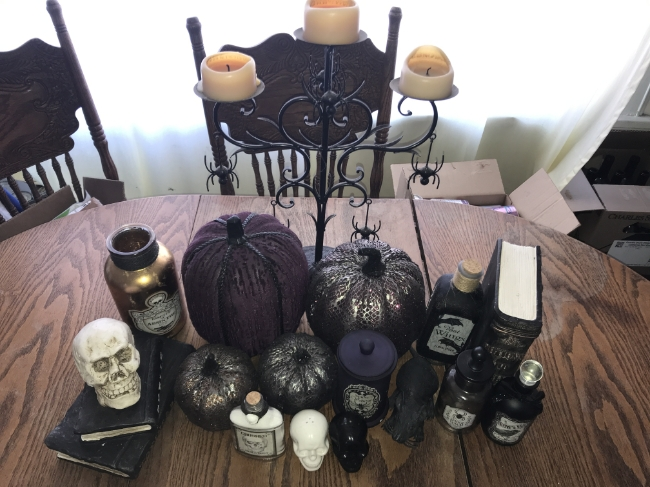 Aurora Smith's kitchen table, decorated with spooky delights