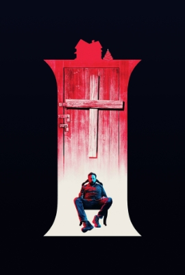 Man loafing in front of a spooky red door with a cross in I Trapped the Devil