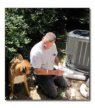 A man working on air conditioner repair in Meridian, ID