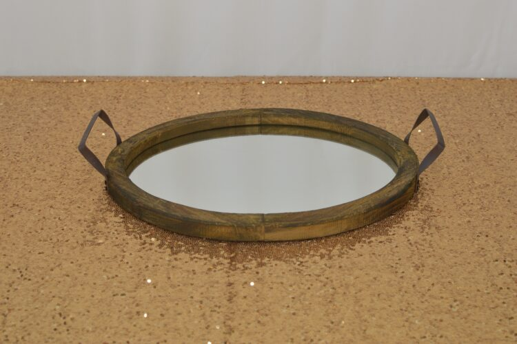 Oval Wooden Mirror Tray