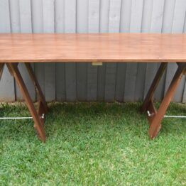 Brown Wooden Trestle Table