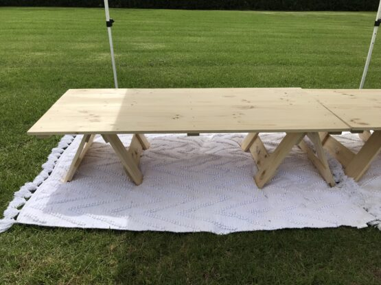 Low Wooden Trestle Table