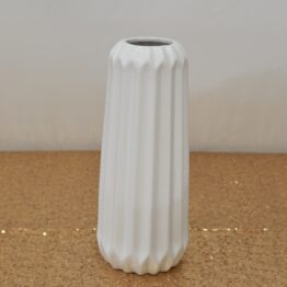 White Ribbed Vase