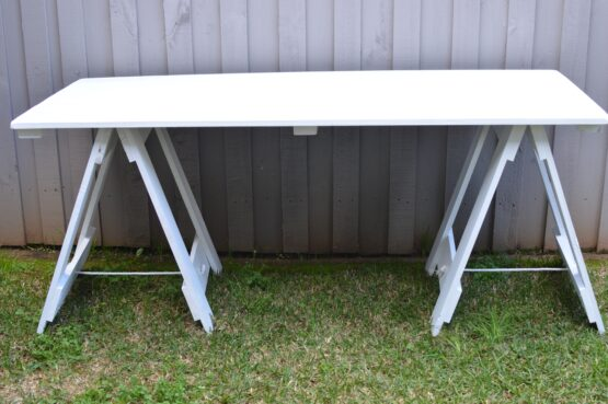 White Wooden Trestle Table