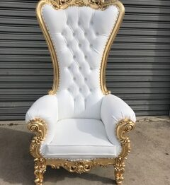 Gold and White Throne Chair