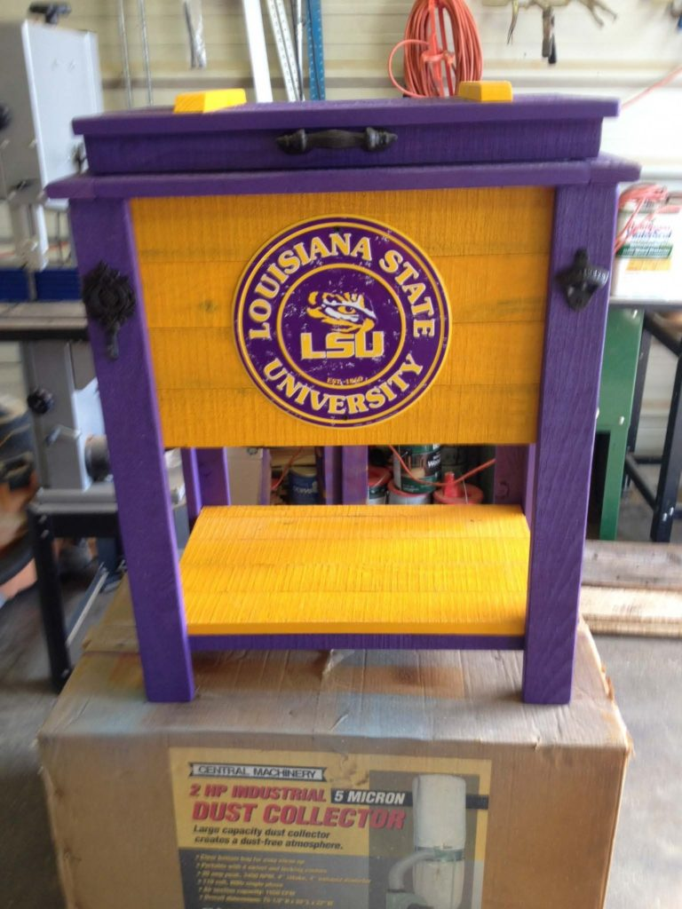LSU-painted-cooler-logo-purple-gold-patio-cooler-tailgate-cooler