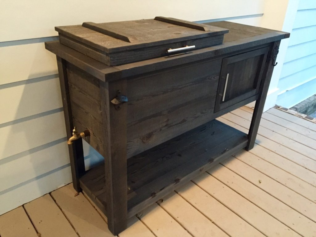 dark-wood-rustic-cooler-patio-cooler-bottle-opener-spigot-towel-hook-ice-chest