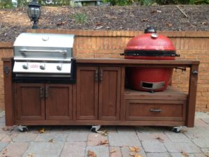dual-grill-table-kamado-joe-gas-grill-rustic-woodworx