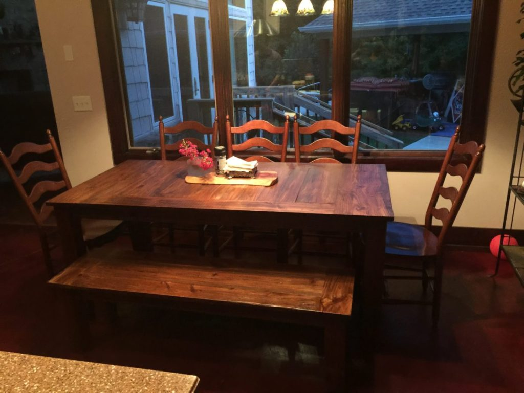 farmhouse-dining-room-table-rustic-bench-chairs
