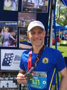 """Eric """"Breadloaf"""" Rine, a Blue Knights alumnus, #RanForAscend in the Half-Marathon and won the """"Alumni"""" division of the Fastest Drummer Contest."""