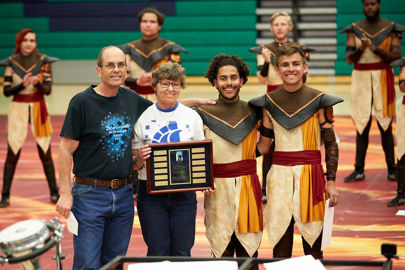 Rick and Cheryl Nygaard presenting the 2019 Keith Nygaard Memorial scholarship to PE members Jamal Blassingale and Matt Boyle