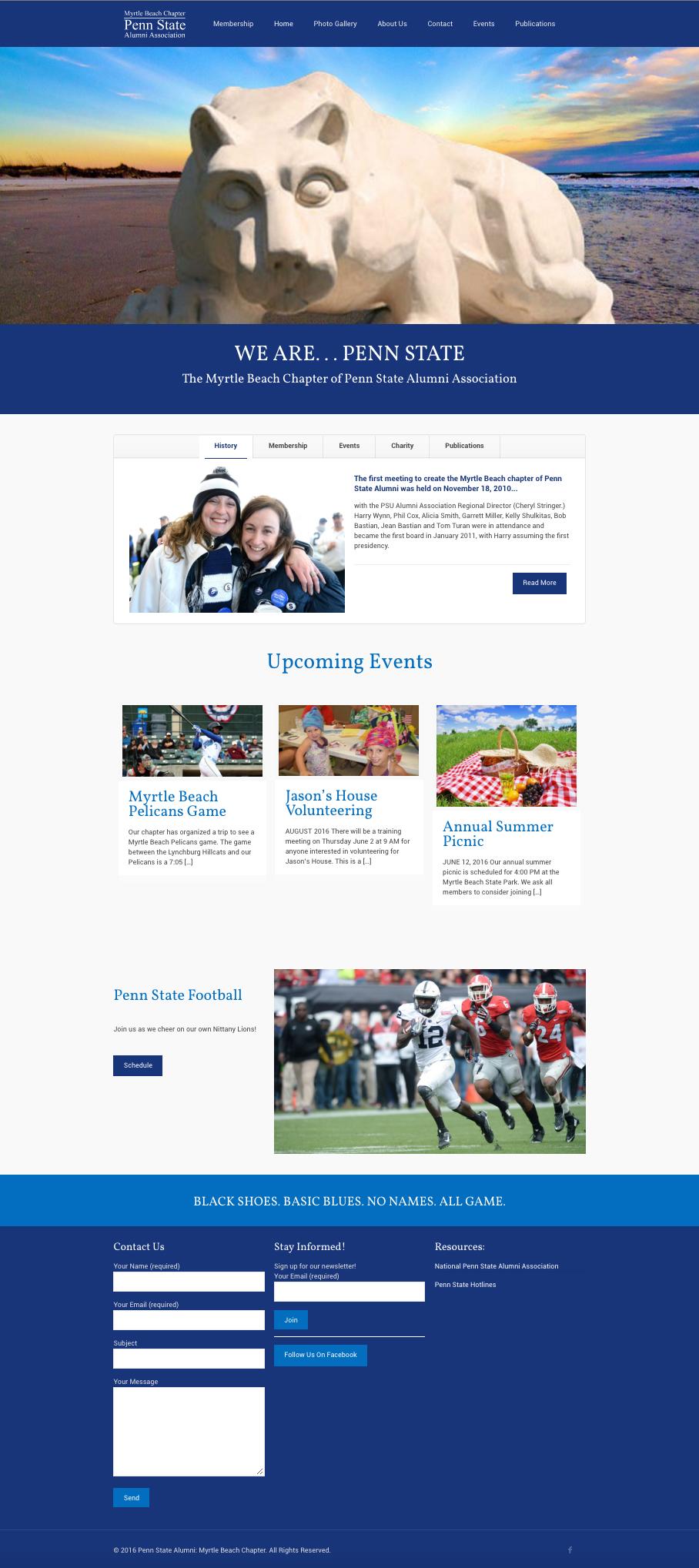 Penn State University Alumni Association, Myrtle Beach Chapter   Website Design