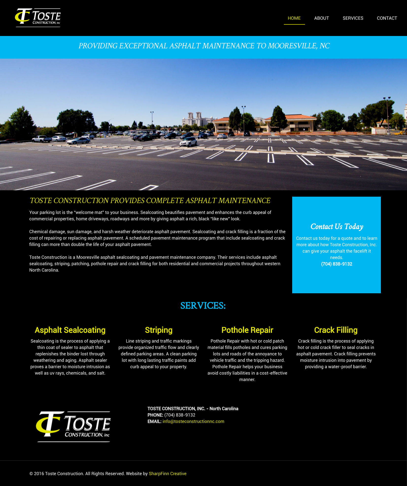 Toste Construction, Inc. North Carolina | Website Design