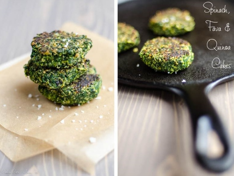 Spinach Fava Bean and Quinoa Cakes by Umamigirl