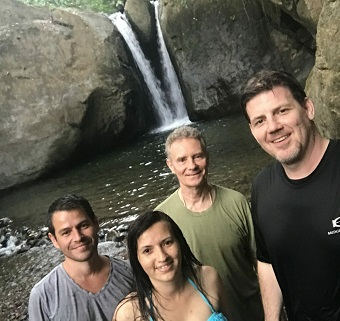 enjoying pavones waterfall
