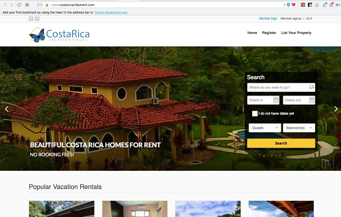 no fee vacation home rental site