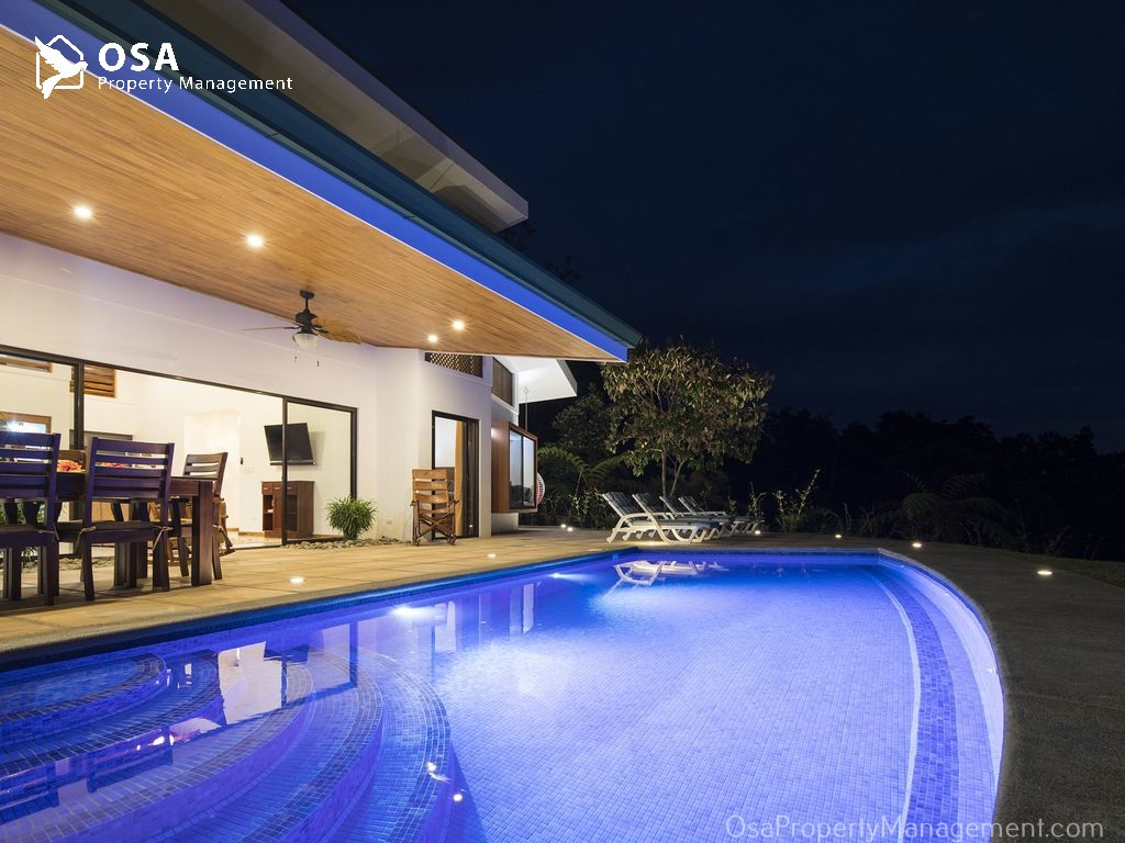 costa rica vacation rental tres rios osa pool night